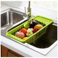 普润 水槽果蔬沥水收纳架/餐具置物架 蔬果餐具碗碟置物筐 厨房多功能沥水架置物架沥水篮 绿色