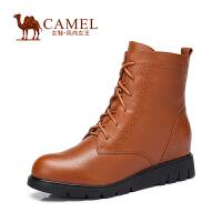Camel/骆驼女鞋 时尚 水染小牛皮圆头系带拉链内增高新款女靴