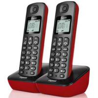 集怡嘉 A191 魔力红 套机 Gigaset原西门子品牌电话机A191数字无绳电话一拖一中文显示双免提家用办公座机子母机套装(魔力红)