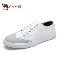 camel骆驼男鞋 新品 男士拼接纳帕牛皮个性潮流滑板鞋