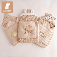威尔贝鲁 婴儿抱被 新生儿包被 夏季纯棉包巾 春秋彩棉宝宝襁褓