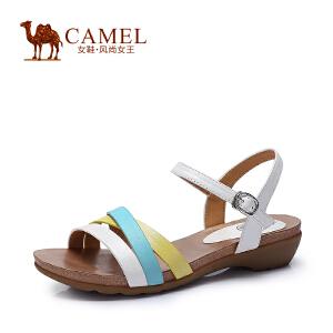 Camel骆驼女鞋 舒适时尚 新款珠光牛皮纳帕牛皮中跟春夏女凉鞋
