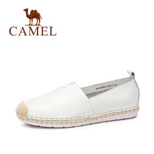 camel骆驼女鞋 春季新款 休闲舒适 摔纹牛皮圆头低跟女鞋