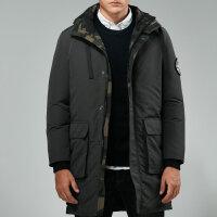 战地吉普AFS JEEP 专柜正品中长款男士羽绒服外套 可脱卸帽商务休闲羽绒衣 加厚保暖