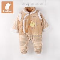 威尔贝鲁 彩棉天鹅绒中式造型宝宝哈衣 婴儿爬服连体衣秋冬加厚