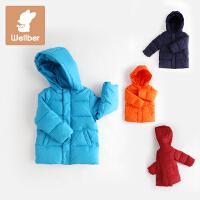 威尔贝鲁 男童白鸭绒连帽轻薄羽绒服秋冬 儿童宝宝冬装保暖外套
