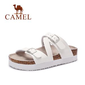 Camel/骆驼女鞋 夏季新款 时尚休闲 方跟魔术贴低跟凉鞋