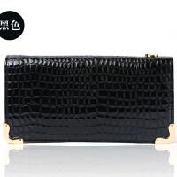 韩版潮女钱包 时尚女式钱包 漆皮鳄鱼纹 钱包女 女士钱包长款拉链TK-688010