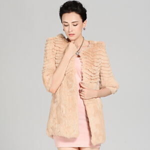 CITYSAILOR 女士冬装海宁獭兔毛皮草七分袖中长款女装修身显瘦外套 女款OL气质百搭白色纯色时尚干练款