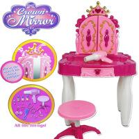 幼儿园女孩儿童益智玩具批发仿真化妆台女孩过家家梳妆桌风筒凳子