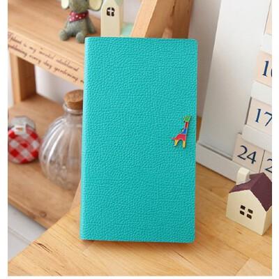 笔记本 长颈鹿可爱记事本 皮面彩页横格日记本子_蓝绿色 中号