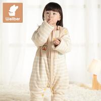 威尔贝鲁 纯棉婴儿睡袋儿童防踢被 宝宝婴幼儿分腿式睡袋 春秋薄棉秋冬厚棉