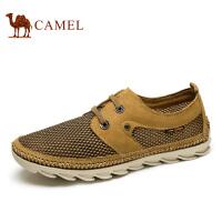camel骆驼男鞋 新款 磨砂皮镂空鞋面休闲百搭系带男鞋
