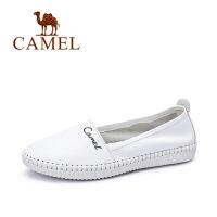 Camel/骆驼女鞋 休闲舒适 牛皮圆头低跟女单鞋