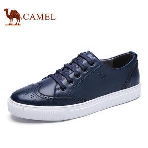camel骆驼男鞋 新品 英伦布洛克雕花牛皮男鞋透气运动板鞋