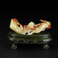 寿山巧色结晶芙蓉石 精雕喜上眉梢摆件