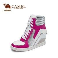 CAMEL 骆驼 休闲活力 新款牛皮拼色绑带内增高女鞋高帮靴