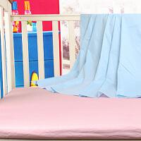 威尔贝鲁 婴儿童宝宝床单 全棉婴儿素色床笠床罩 粉蓝两色
