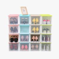 当当优品 高跟鞋收纳盒 滑盖抽屉式塑料防潮加厚透明鞋盒 4个装  颜色多选