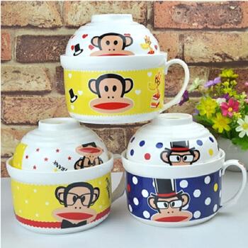 多啦a梦 kitty 大嘴猴 小黄人 陶瓷 泡面碗 可爱方便面碗大号带盖