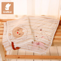威尔贝鲁 儿童纯棉宝宝婴儿毛毯夏季新生儿浴巾纱布盖毯夏季薄被