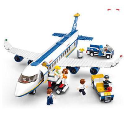 小鲁班拼装积木空中巴士飞机男孩益智玩具