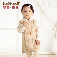 威尔贝鲁 婴儿纯棉套头毛衣 女童秋装圆领针织衫儿童连衣裙春秋款
