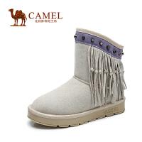 Camel骆驼女靴 时尚保暖 牛�S铆钉流苏圆头低跟雪地靴