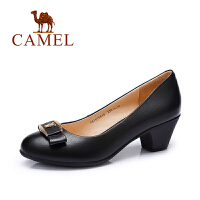 camel骆驼女鞋 时尚优雅 水染羊皮小圆头高跟单鞋 新款单鞋