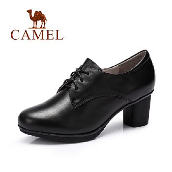 camel骆驼女鞋 新款 通勤百搭圆头系带防水台粗跟单鞋气质秋鞋