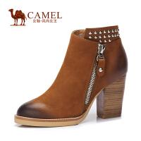 Camel/骆驼女鞋 时尚 摔纹磨砂牛皮圆头铆钉拉链 高跟女短靴