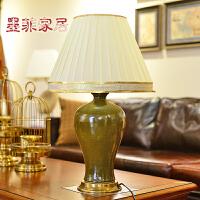 墨菲 新中式茶叶末陶瓷台灯 创意时尚欧式客厅卧室床头柜装饰灯具