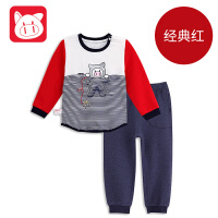 专柜同款 小猪班纳童装男宝宝家居服套装2017秋季新款男童长袖上衣儿童裤子