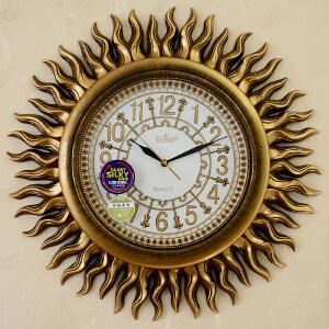 乐唯仕 钟表古金色太阳仿古创意静音欧式挂钟客厅时尚石英钟