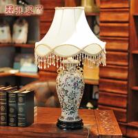 纽曼米莱 中式欧式复古田园写意彩绘陶瓷卧室客厅台灯具 大号