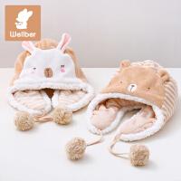 威尔贝鲁 纯棉宝宝帽子秋冬 婴儿护耳帽儿童冬天套头帽1-2岁