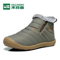 木林森男鞋冬季加绒保暖棉鞋爸爸鞋雪地靴休闲鞋中年老人鞋子30140438