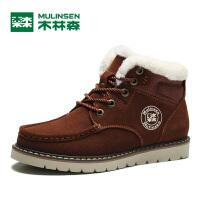 木林森男冬季加绒保暖鞋雪地靴男士工装靴棉鞋250058