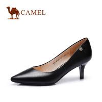 camel骆驼女鞋 优雅通勤水染羊皮尖头酒杯跟高跟春新品 女单鞋