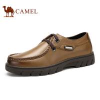 camel骆驼男鞋 新款男鞋休闲皮鞋圆头系带男鞋商务正装鞋