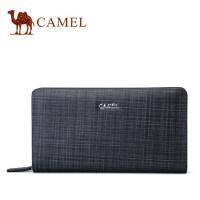 Camel骆驼男包2017新款男士真皮手拿包时尚格纹牛皮手包大容量