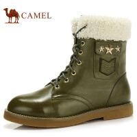 camel骆驼 牛皮时尚短靴 方跟侧拉链简约潮流时装靴81013622