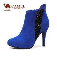 Camel骆驼 短靴  新品 高贵 羊�S小圆头侧拉链 高跟女靴