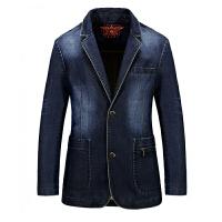 2017春秋新款战地吉普 AFS JEEP正品夹克外套 658男士休闲牛仔青年西装 单排扣