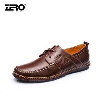 零度尚品 热卖男士四季款舒适柔软头层牛皮休闲鞋系带流行男士皮鞋男鞋F6513