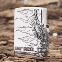 芝宝Zippo打火机 熏银/雕刻/贴章 哈雷火焰大侧鹰HDP-04 火焰复活鹰
