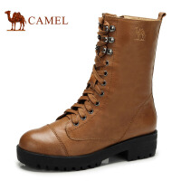 camel骆驼女靴 牛皮 女靴中跟 圆头休闲时尚马丁靴新款81128602