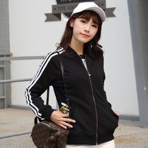 【满2件6折】白领共社 棒球服 女士新款时尚宽松黑色开衫上衣拉链卫衣女式三道杠休闲立领中款学生夹克外套