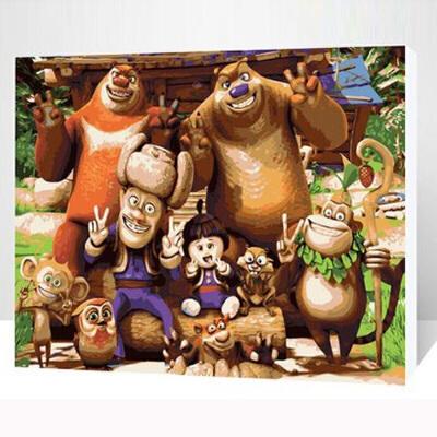 菲绣绣艺 diy数字油画卡通动漫数字画 熊出没 40*50cm儿童房简单手绘