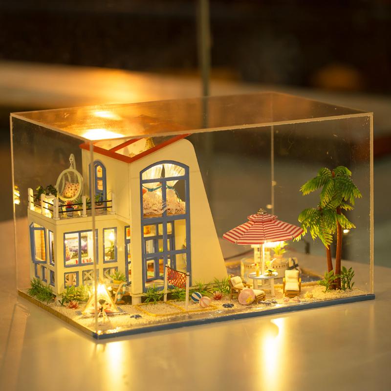 弘达diy小屋碧海蓝天手工制作房子模型大型拼装别墅 礼物礼品